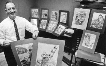 Herb with some of his favorite cartoons.